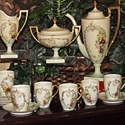 Belleek Coffee Set: Pot, Creamer/Sugar and 4 Cups/Saucers with Rose Decor & Blue Enameling