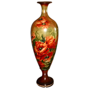 Willets Belleek HUGE Floor Vase With Vibrant Orange Poppies and Stunning Color