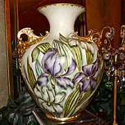 Belleek Fabulous Signed Cherub Handled Vase with Purple, White & Yellow Iris