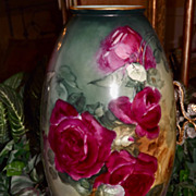 Willets Belleek Huge Vase with Incredible Ruby Red/Pink and Golden Yellow Roses and Amazing Co
