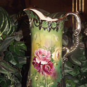 Willets Belleek Amazing Silver Overlay Pitcher with Gorgeous Crepe Paper Like Pink, Red and Ye