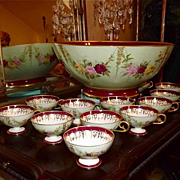 Limoges Punch Bowl and Twelve Cups Decorated with Garlands of Pink/Red/Yellow Roses and Gold A
