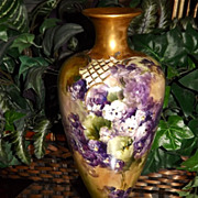 CAC (Ceramic Art Company) Belleek Vase with Hand Painted Purple and White Pansies/Violets and 