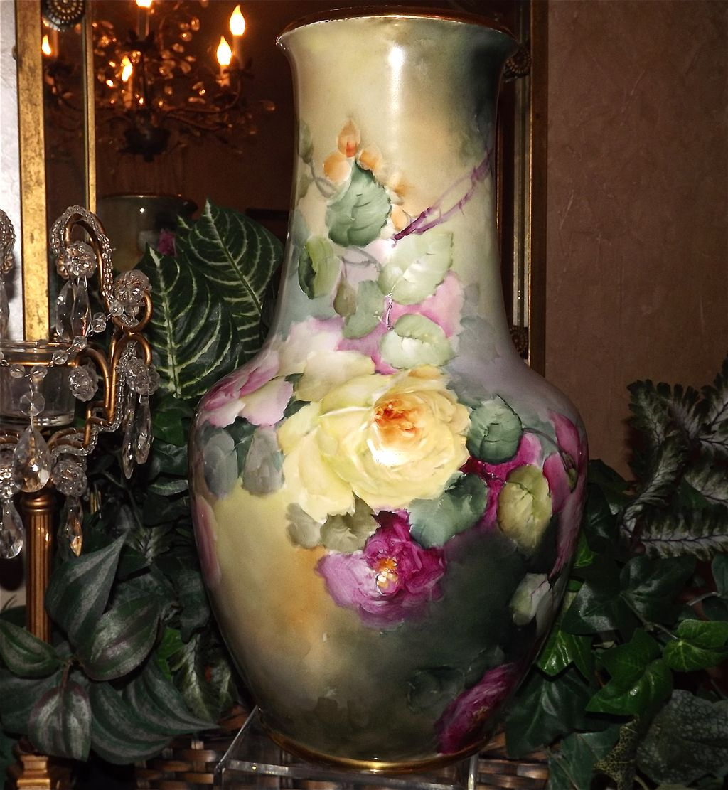 Spectacular Tall Limoges Vase With Pink Red And Yellow