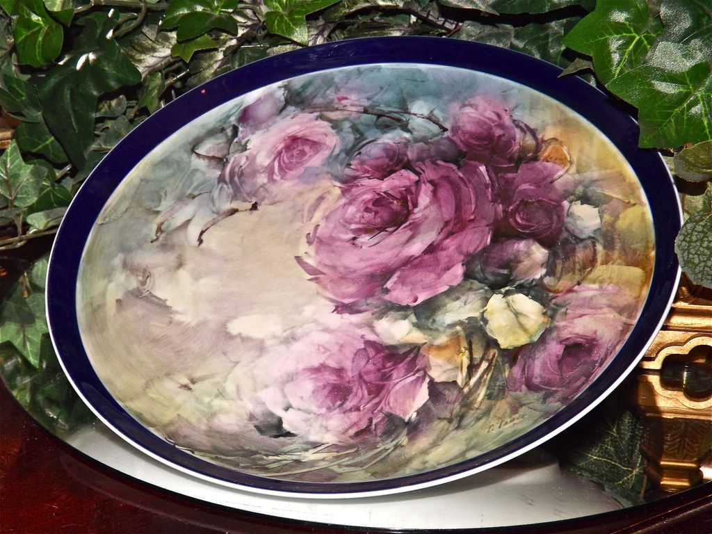 Limoges Large Signed Cobalt Blue Rimmed Charger/Plaque with Bischoff Like Gorgeous Raspberry Pink Roses