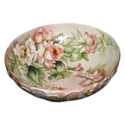 Limoges Gorgeous Rare Footed Punch Bowl with Apricot and White Roses Signed E.H. (Ester Horlbe