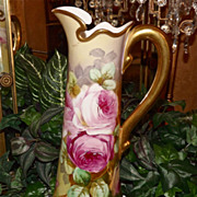 Limoges Huge Pitcher/Tankard with Spectacular Pink Roses Signed Listed Artist