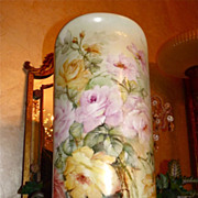 Huge Porcelain Floor Vase Pink/Yellow/White/Apricot Limoges Styled Roses Signed Master & Liste