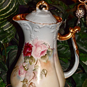 Limoges Chocolate Pot with Lovely Pink, Red and White Roses with Raised White Flourish Embelli