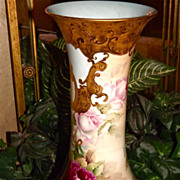 Limoges Huge Incredible Corset Vase Red/Pink Roses and Stunning Gold Designs