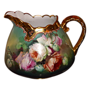Pickard Decorated Amazing Rose Inspired Pitcher with Gold/Black Etched Decor Signed Seidel