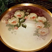 Limoges Gorgeous Hand Painted Yellow Rose Tray/Charger/Wall Plaque