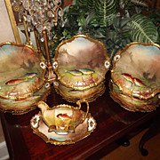 SOLD Gorgeous Limoges Commissioned Fish set Signed Master Artists DeNervel & Valentin