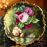 Limoges Huge Incredible Reflecting Roses Charger/Plaque Signed Duval Covered in Pink, Red and 