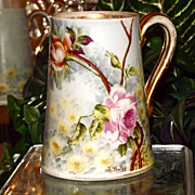 Limoges Apricot and Pink Rose Filled Mug Signed Master Artist Golse