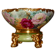 Limoges Breathtaking Punch Bowl Covered in Roses with Gold Detailing and Matching Plinth