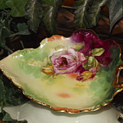 Limoges Lovely Leaf Shaped Handled Candy/Tidbit Dish with Pink/Yellow and Red Roses Signed Ran