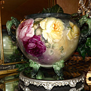 Limoges Limoges Magnificent Footed Jardiniere Exquisite Pink, Red, Yellow Roses