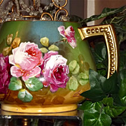 Limoges Cider/Lemonade Pitcher Fabulous Pink/Red Roses Signed Listed French Artist Leon