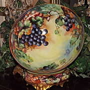 Limoges Huge Grape Punch Bowl and Matching Grape Decorated Cherub Face Plinth/Base