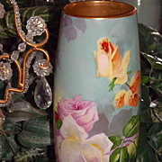 Limoges Fabulous Duval Vase with Reflecting Roses Decor