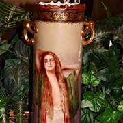 Limoges Huge Twisted Handle Portrait Vase with Fabulous Gold and Hand Painted Design Work.