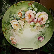 Limoges Signed Charger with Incredible Apricot/Tea Roses