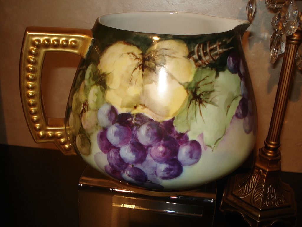 Limoges Gorgeous Cider Pitcher with Red and Purple Grapes