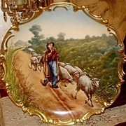 Magnificent Limoges Signed Charger Sheepherder & Flock