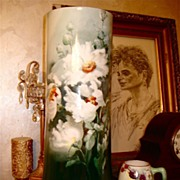 Limoges Enormous Signed Floor Vase Large White Roses