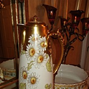 Limoges Wonderful Signed Chocolate Pot with Daisies