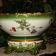 Fabulous Limoges T&V Floral Punch Bowl/Matching Plinth