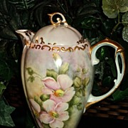 Gorgeous Limoges Chocolate Pot with Wild Pink Roses & Heavy Gold