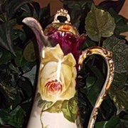 Wonderful Elegant Limoges Chocolate Pot Yellow Roses Signed Rene