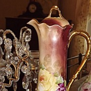 Gorgeous Limoges Signed Chocolate Pot with Yellow/Pink/Red Roses