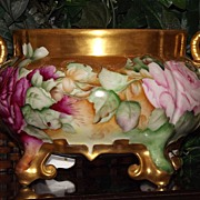 Gorgeous Limoges Footed Jardiniere/Ferner/Vase with Gold Swan Handles and Pink/Red Roses