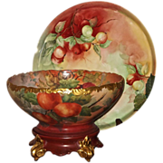 Stunning Limoges Signed Punch Bowl/Matching Plinth and Tray  Gorgeous Colors and Rare Hand ...