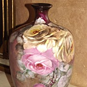 Limoges Wonderful Vase with Gorgeous Pink and Yellow Roses