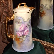 Limoges Wonderful Signed Chocolate Pot Two Looks: Pink Roses and Apricot Roses