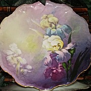 Limoges Signed Bronssillon Iris Plate with Gorgeous Purples, Yellows and Blues