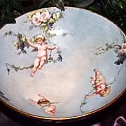 Limoges Incredible Punch Bowl Grapes, Roses and Cherubs with Matching Plinth/Base