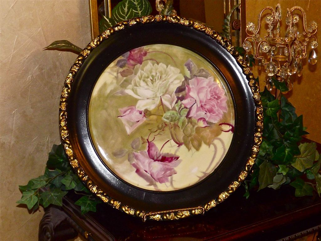Limoges Large Porcelain Plaque with Pink and White Roses Ebony and Gold Embellished Old Wood Frame