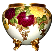 SALE Limoges Jardiniere Huge Red and Yellow Roses with Ornate Gold Feet Signed