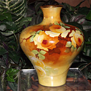 Limoges Gorgeous Vase Filled with Yellow Roses Signed Master Artist Bronssillon