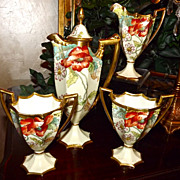 SOLD Limoges Gorgeous 4-Piece Chocolate/Tea Set with Poppies/Daisies and Stunning Colors