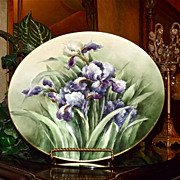 "Limoges Huge 16"" Plaque with Incredible Purple Bearded Irises"