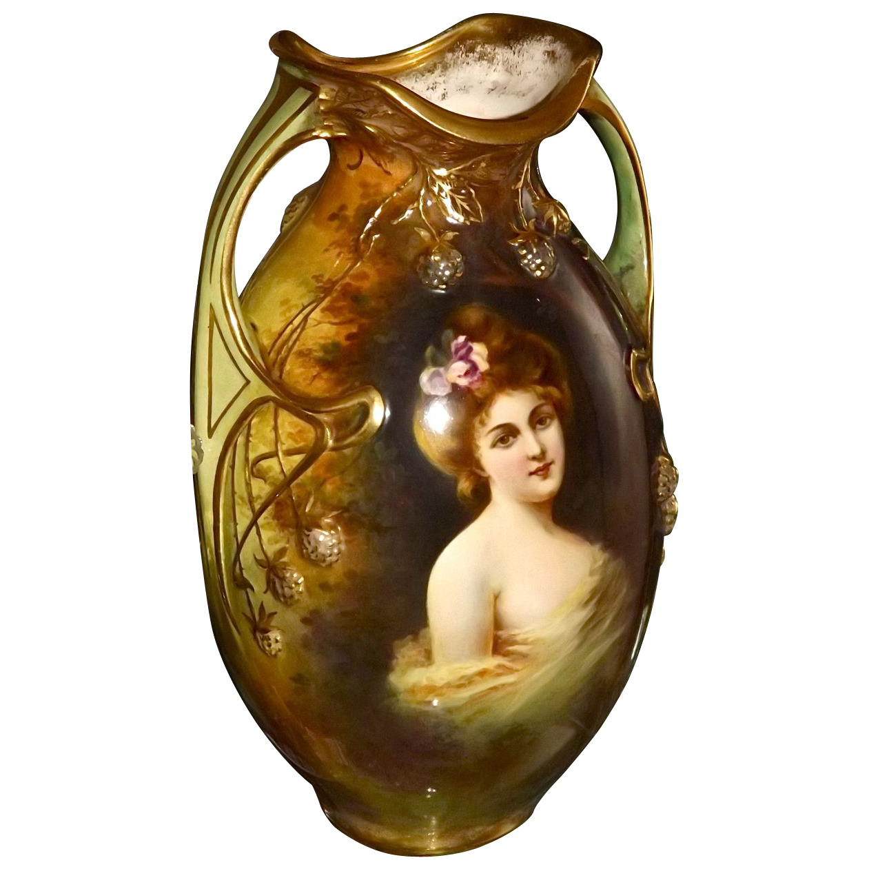Stunning Large Royal Bonn Portrait And Scenic Vase From