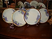 JPL Limoges Set of Artist Signed Four Violet Lunch Plates