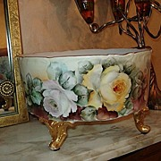 D&C Limoges Handpainted Footed Ferner with Roses