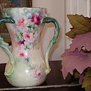 T&V Limoges Loving Cup Vase Twisted Handles and Pink Roses